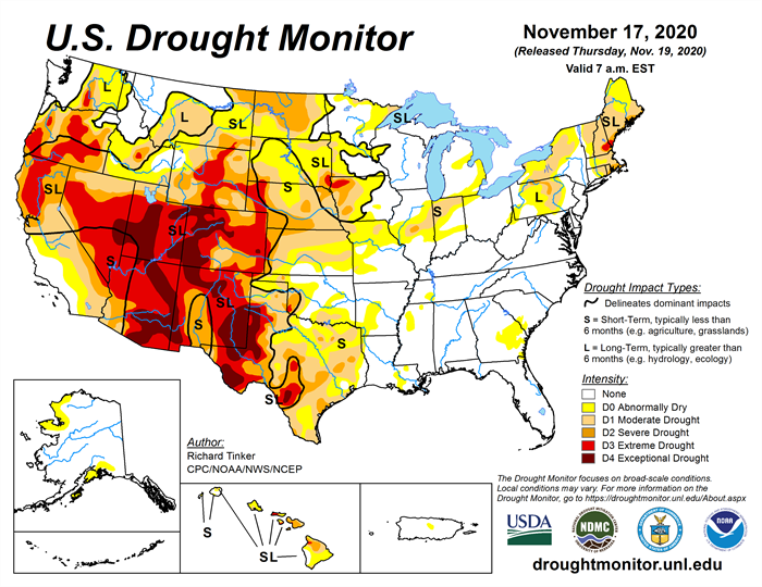U.S. Drought Monitor November 17 2020
