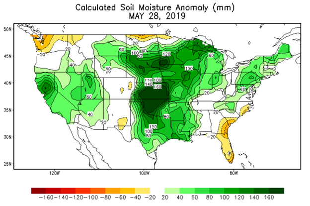 calculated soil moisture anomaly may 28 2019